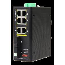 Индустриальный POE свитч 6 Ethernet, 2 оптических выхода